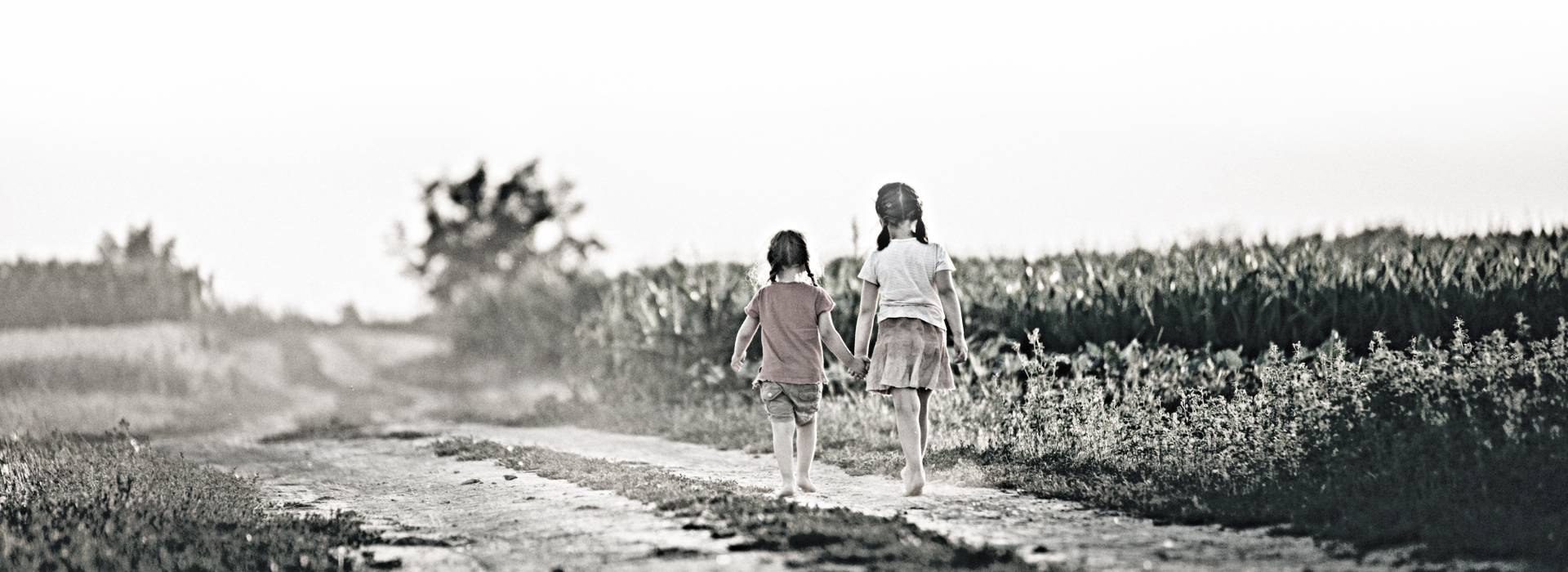 Two sisters walk down a dirt road near a corn field.
