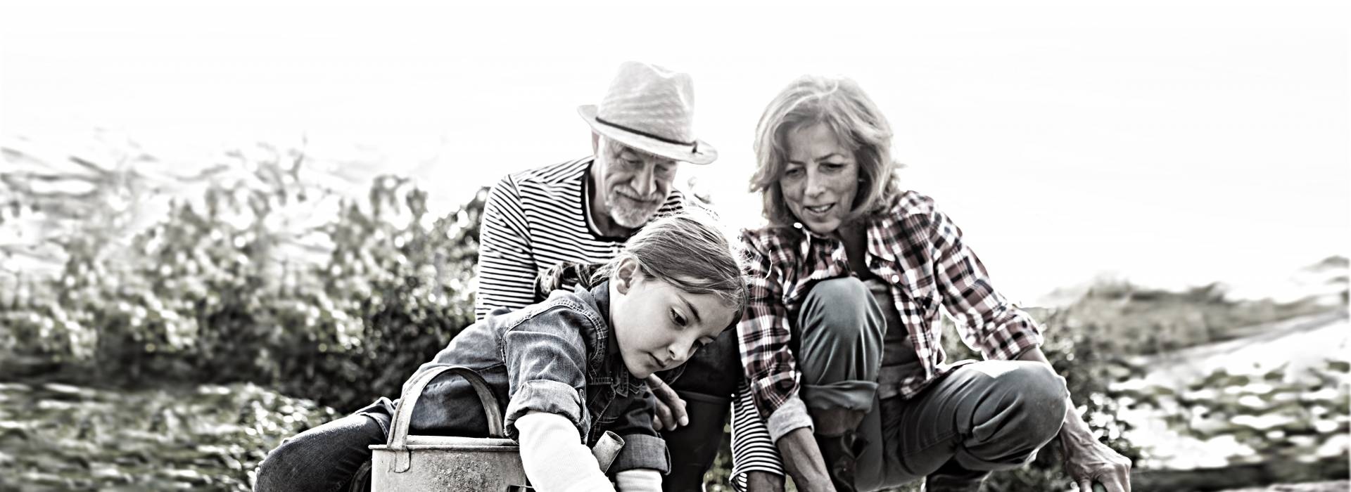A grandfather and grandmother watch as their granddaughter plants something in their garden.
