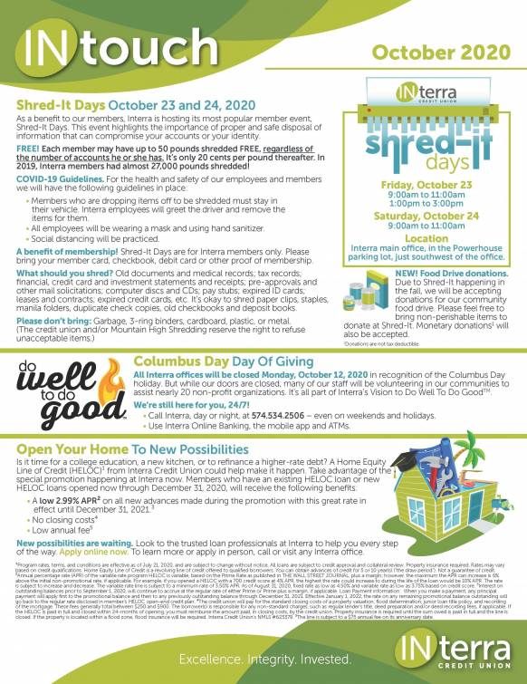 Monthly Newsletter October 2020 FRONT